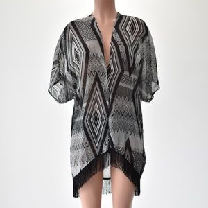 2B Bebe One Size Abstract Fringe Cover Up Gray